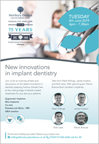 New Innovations in Implant Dentistry Open Evening - 4th June 2019 - 6pm-7.30pm